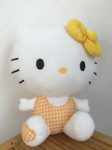 """Hello Kitty Plush Soft Toy - Yellow Check Gingham OutfIt And Bow - 9"""" - Sanrio"""