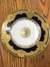 Antique Vintage Limoges 10 Inch Plate Gold And Navy Blue Beautiful