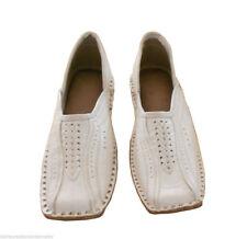 Men Shoes White Indian Handmade Leather Jutties Loafers Mojari Flats US 8