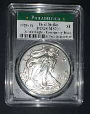 2020 (P) $1 American Silver Eagle PCGS MS70 Emergency Production Philadelphia FS