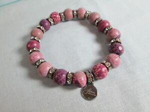 Jilzara Lilac Czech Crystal Stretch Polymer Clay Beads Bracelet Artisan / HTF