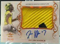 2017 LEAF JAYLEN WADDLE GAME-USED ARMY 2 COLOR PATCH AUTOGRAPH AUTO RC #26/40