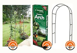 QUALITY BLACK METAL STRONG TUBULAR GARDEN ARCH SUPPORT 2.4M ARCHWAY PATIO DECOR