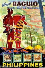 Baguio Philippines Island Visit Vintage Travel Advertisement Art Poster