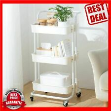 Utility Carts with Wheels, Practical Handle and Abs Storage Basket , 3 Tier Roll