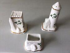 Carrigaline Pottery (Shamrock Design) 3 Piece Condiment Set Ireland  Vintage