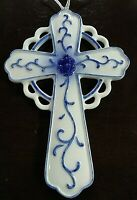 Beautiful Delft Blue Porcelain Christian Cross Kurt S. Adler Christmas Ornament