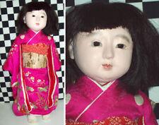 "17.5"" Antique Japanese Doll Original Silk Kimono Glass Brown Eyes Black Hair~~~~"