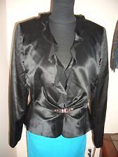 PATRICIA MOSS BLACK SILK V-NECK RUFFLED NECKLINE DRESS JACKET SIZE 12