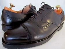 Bally dark tan oxford cap chaussures uk 11 ue 45.5 f semelles en caoutchouc
