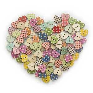 50pcs Heart Shape Wood Buttons Sewing Scrapbooking Cloth Home Craft Decor 17mm