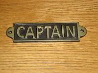 Captain Metal Plaque Hand Casted Black & Gold Sign -Shop Door