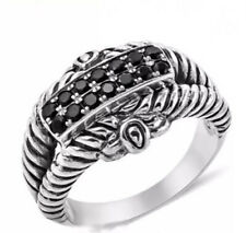 Balinese Thai black spinel ring in .925 stamped silver