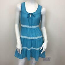 Internacionale Blue Sleeveless Tiered Tunic Short Dress Blouse Top UK Size 8
