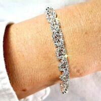 Silver White Diamante CZ Crystal Bangle Tennis Bracelet Bridal Birthday Gift Bag