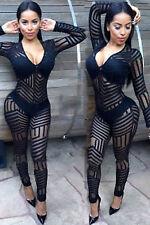 Abito tuta aperto Nudo aderente Trasparente Ricamo Body Glove Catsuit Clubwear
