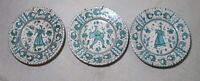 lot of 3 vintage hand painted Italian Majolica terra-cotta pottery plates dishes