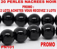 Lot de 20 perles noir nacrées noir 10 mm  PROMO  PN101