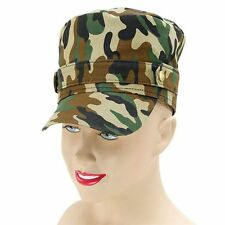 Green Camouflage Camo Army Uniform Cap Hat Fancy Dress Costume Adult NEW P6612