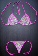 Paisley Rosa con Dibujos G-String Bikini Sexy Disfraz de natación ropa playa Tanga