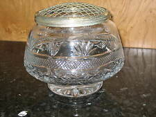 VINTAGE HUGE CRYSTAL ROSE BOWL THOMAS WEBB  WITH PLATED MESH COVER CIRCA 1970'S