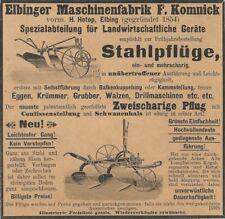 Ü892 ANZEIGE AUS EINER ZEITUNG 1899 ELBINGER MASCHINEN FABRIK KOMNICK PFLUG