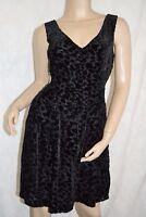 MONSOON FUSION Size 10 Gorgeous Velvet Devore Empire Line Black Party Dress VGC