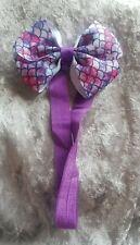 girls stretch purple mermaid bow headband