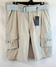 pd&c Men Size 34 Shorts Belted Light Gray With Lt Blue Belt Cargo Pockets NWT