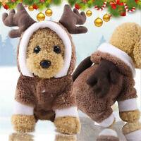 Pet Puppy Dog Christmas Deer Clothes Reindeer Winter Warm Coat Apparel Hoodie US