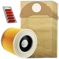 5 x Wet & Dry A2054ME A2064PT Bags & Filter for Karcher Vacuum + Fresh