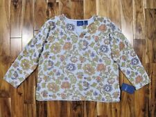 New $59 JH Collectibles Woman 2X Blue Floral Cotton Knit Sweater 22 / 24 Soft
