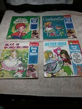 4 VINTAGE 45 RPM CHILDREN'S RECORDS/BOOKS SAMBO, CINDERELLA, ALICE, MOTHER GOOSE