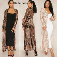 Haifeition Women's Embellished Gatsby Art Sexy Sequin Perspective Dress Coat