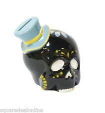 67035 Black Sugar Skull Top Hat Piggy Bank Sourpuss Dia de los Muertos Goth NEW
