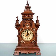 JUNGHANS PFEILKREUZ ALARM Mantel Clock Castle Shaped! 1910s Antique German Shelf