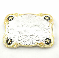Western Gold/Silver Stars Floral Pattern Metal Fashion Belt Buckle