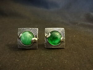 Beautiful Swank Silver Tone Green Marble Pair Of Square Cufflinks Jewelry