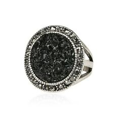 Simply Style Black Crystal Rhinestone Ring Silver Plated Finger Ring Accessories