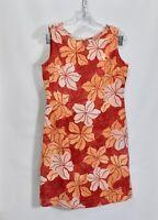 Women's Tommy Bahama 100% Silk Floral Hawaiian Print Sleeveless Shift Midi Dress