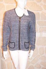 Gilet/cardigan bleu taille 3/4 marque Soie pour Soi laine étiqueté à 59,95€ (ch)