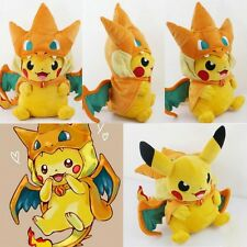 Japan Pokemon Pikachu Cute Charizard hat Plush Soft Toy Stuffed Animal Doll 9''