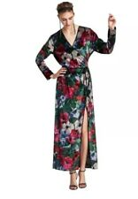 NWT Zara Women's Size Medium Velvet Floral Kimono Wrap Long Maxi Dress