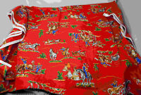 Vintage 1950's Red Cotton Cowboy Print Western Fabric Cranston 44 x 104 WOW!