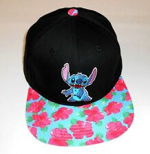 Disney Lilo & Stitch Floral Baseball Cap Hat Flat Bill Adjustable Snapback Nice