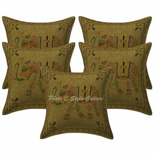 Ethnic Decorative Sofa Cushion Covers 40 x 40 Gold Embroidered Cotton Set Of 5