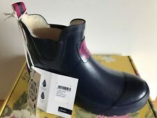 Joules Ladies French Navy Spot Fleece Lined Wellibob Ankle BOOTS Size 4 - 8 5