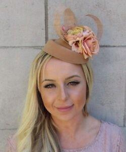 Tan Beige Nude Rose Flower Pillbox Hat Hair Fascinator Clip Races Wedding 5812