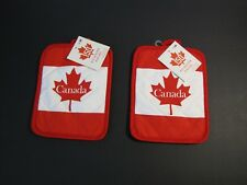 Canada Souvenir Potholders Red White with Maple Leaf Spell Out Quilted