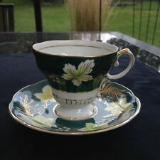 Shafford Hunter Green footed teacup and saucer REDUCED SHIPPING.